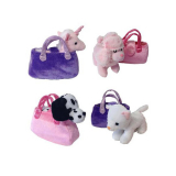 Plush Dog/unicorn In Bag 4 Asstd