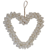 Shell Heart White Clamrose 8 Inch