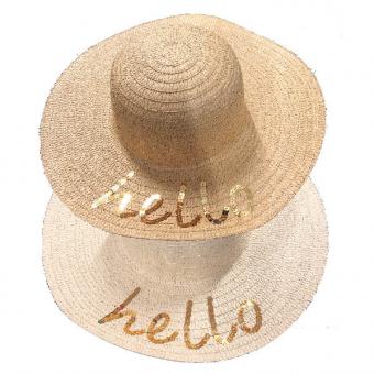 Hat Ladies Hello Sequin Wide Brim