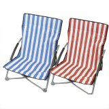Striped Low Beach Chair 2astd & Carrybag
