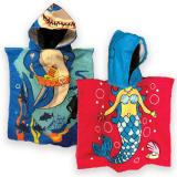 Beach Towel With Hood Poncho 2 Asstd