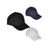 B/ball Cap Plain White, Black & Navy